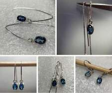 Sterling Silver 7x5 Oval Cut Natural LONDON BLUE TOPAZ Dangle Earrings *VARIETY*