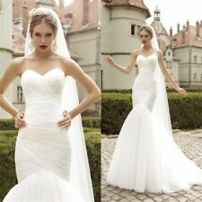 Ruched Tulle Mermaid Wedding Dresses Lace Up Draped Strapless Classic Bride Gown