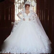 Lace Wedding Dresses Beaded Appliques Organza Tulle Vintage Bride Ball Gowns New