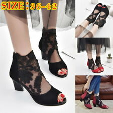 Women Mesh Lace Sandals Block Heels Shallow Mouth Nightclub Fish Mouth Shoes New
