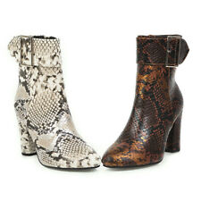 Womens High Heel Buckle Stra Zip Up Ankle Boots Winter New Dress Shoes Snakeskin