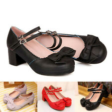 Women Bow Ankle Strap Chunky Mid Heel Cosplay Lolita Shoe Buckle Mary Jane Pumps