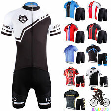 US Men's Bike Sports Clothing Short Sleeve Cycling Jersey Shorts Wear Suit Tops