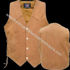 MENS BROWN BUFFALO LEATHER VEST SIDE LACES MOTORCYCLE