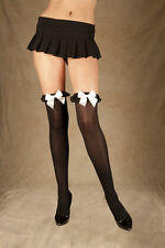 OPAQUE THIGH HIGH STOCKINGS w/FRILLY LACE Ruffle & SATIN BOWS Elastic Stay-up OS