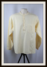 CREAM ~ COLLARLESS LONG SLEEVE GRANDAD SHIRT ~ 100% COTTON ~ S, M, L, XL, XXL
