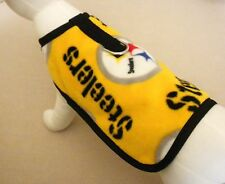 Yellow Fleece Dog Harness Coat Made From NFL Pittsburgh Steelers Fabric