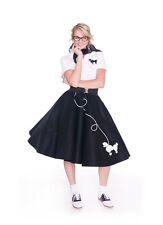 8 pc Adult 50's POODLE SKIRT Outfit Costume - Black