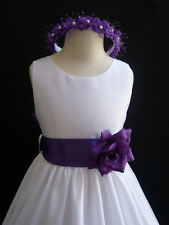New White purple lapis eggplant wedding bridal party flower girl dress ALL SIZE