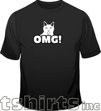 Oh My God Cat OMG! Funny Web Mens Loose Fit Cotton T-Shirt