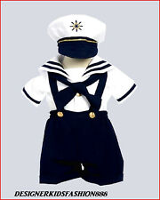 WHITE NAVY SAILOR  BABY TODDLER BOY NAUTICAL COSTUME 6M 12M 18M 24M 2T 3T 4T