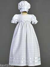 Baby Girls White Long Christening Baptism Gown Dress Cotton 0-18M Daphne