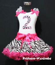Hot Pink Zebra Pettiskirt Zebra 2nd Birthday Baby Top