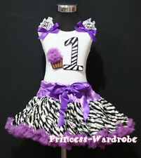 Baby Purple Zebra Pettiskirt 1st Birthday Cupcake Set