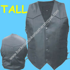 MENS TALL BUFFALO LEATHER BIKER MOTORCYCLE CLUB VEST w/SIDE LACES  SIZES 40-66