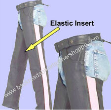 LADIES WOMENS LEATHER MOTORCYCLE BIKER CHAPS with PINK STRIPE SIZES 2XS-10XL