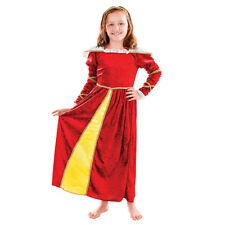 GIRLS MEDIEVAL TUDOR LADY RED QUEEN DRESS OUTFIT FANCY DRESS
