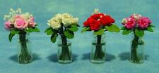 Dolls House Miniature:  Vase of Roses   Choice of Colours   12th scale