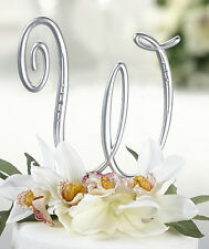 Matte Silver Wedding Cake Top Monograms with Rhinestones ~ Choose Letters & Size