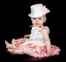 Newborn Baby Cream Pink Sweet Heart Pettiskirt Tutu Ruffles Bow White Top 3-12M