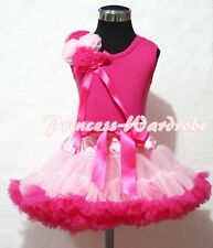 Light Hot Pink Pettiskirt Skirt with Bunch Rosettes Hot Pink Pettitop Top 1-8Y