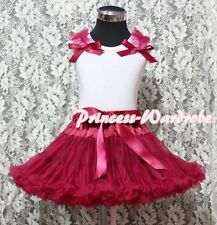 Raspberry Pettiskirt Skirt White Pettitop Top in Wine Red Bows Ruffle Set 1-8Y