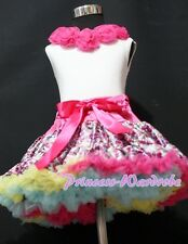 Hot Pink Floral Print Pettiskirt with White Pettitop Top Hot Pink Rose Set 1-8Y