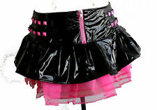 BLACK NEON PINK PVC STUDDED BUCKLE TUTU MINI SKIRT SCENE 80'S PUNK FETISH XS-XL
