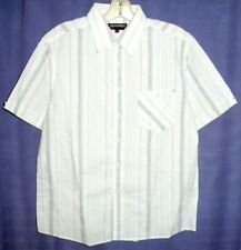 Mens short sleeve casual shirt white with blue stripe Ed Harry Easy Street NEW
