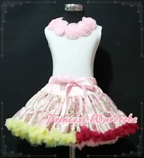 Pink Rainbow Floral Pettiskirt Skirt White Pettitop Top Light Pink Rosettes 1-8Y