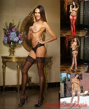 STAY-UP STOCKINGS Sheer Lace Top THIGH HIGHS w/ Silicone Hold-up Strips OS