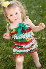 NewBorn Baby Christmas Red White Green Lace Chiffon ONE PIECE Petti Romper NB-3Y