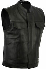 NEW MOTORCYCLE SONS OF ANARCHY STYLE VEST GENUINE A GRADE COWHIDE BLACK LEATHER
