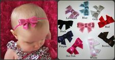 BABY/CHILD/REBORN DOLL DAINTY SEQUIN BOW HEADBAND VARIOUS COLOURS