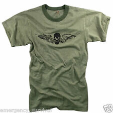 Army Airborne Death From Above Skull & Wings OD Vintage T-Shirt - FREE SHIPPING