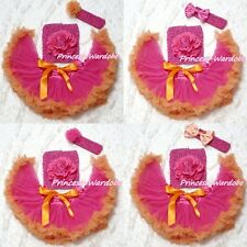Newborn Hot Pink Orange Pettiskirt wif Crochet Tube Top & headband 3PC Set 3-12M