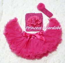 Newborn Baby Hot Pink Pettiskirt with Crochet Tube Top & headband 3PC Set 3-12M