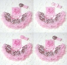 Newborn Light Pink Leopard Pettiskirt Crochet Tube Top & headband 3PC Set 3-12M