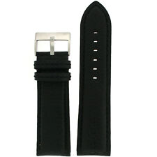 Extra Wide Watch Band Genuine Leather Calfskin Black Strap LEA1360