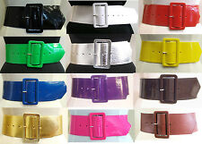 Ladies Girls Leather Look Retro Wide Shiny PVC Cinch Waist Belt