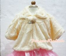 Cream Yellow Kid Girl Soft Fur with Pearl Bead Capelet Coat Size 2-6Y Shawl SH18