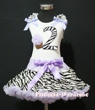Baby Lavender Zebra Pettiskirt 2nd Birthday Cupcake Optional Shoulder Top Set