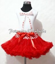Xmas Minnie Waist Pettiskirt Party Dress Tutu White Pettitop Heart Big Bow 1-8Y