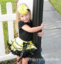 Yellow Black Trim FULL Pettiskirt Petti Skirt Dance Tutu Dress 4 Child Girl 1-8Y