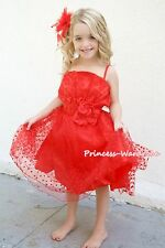 Hot Red Hearts Gown Wedding Party Skirt Bridal Flower Pageant Dress 2-8Y PD009