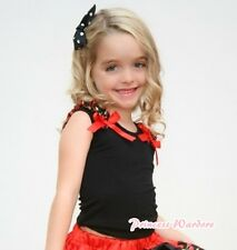 Black Pettitop Shirt Top with Black Cherry Ruffles Red Bow for Pettiskirt NB-8Y