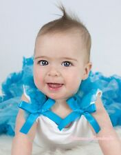 Newborn Baby White Pettitop Top Shirt Turquoise Blue Ruffle Bow NB-8Y For Skirts