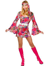 Retro Flower Go-Go Dress Hippie Girl Fancy Dress 1960s 60s 70s Hippy Costume New