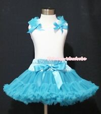 Turquoise Blue Pettiskirt Skirt White Pettitop Top Blue Ruffle Bow Girl Set 1-8Y