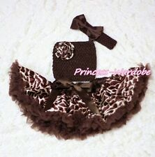 Baby Brown Giraffe Pettiskirt Tutu Dress Crochet Tube Top headband 3PC Set 3-12M